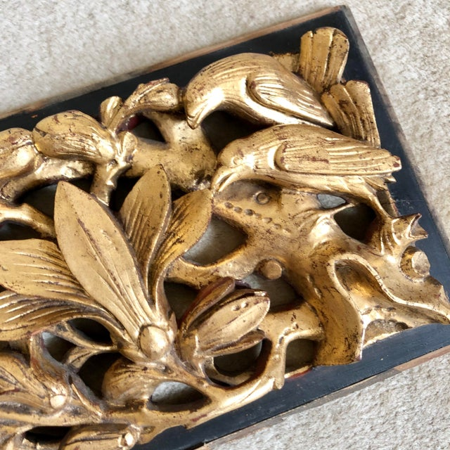Chinoiserie Antique Chinese Carved Giltwood Panels- a Pair For Sale - Image 3 of 9