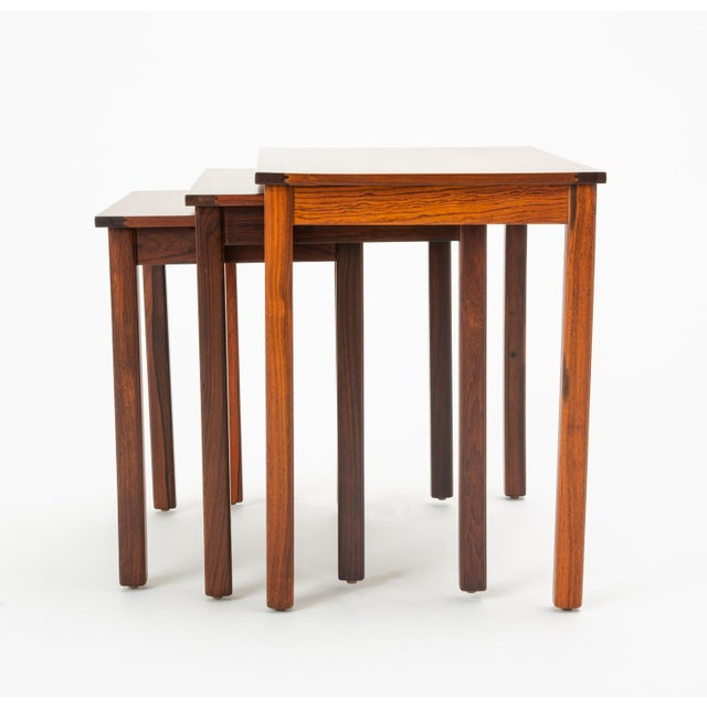 Danish Modern Danish Modern Rosewood Nesting Tables - Set of 3 For Sale - Image 3 of 12