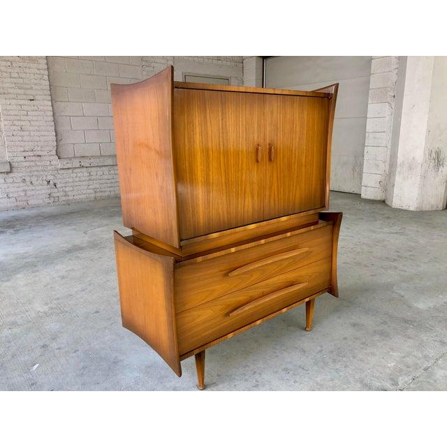 Mid Century Modern Retro Atomic Walnut High Boy Dresser Wardrobe Chest of Drawers Bedroom Set Storage Piece - Image 3 of 11