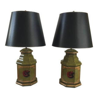 Vintage English Tole Canister Monogram Table Lamps - A Pair
