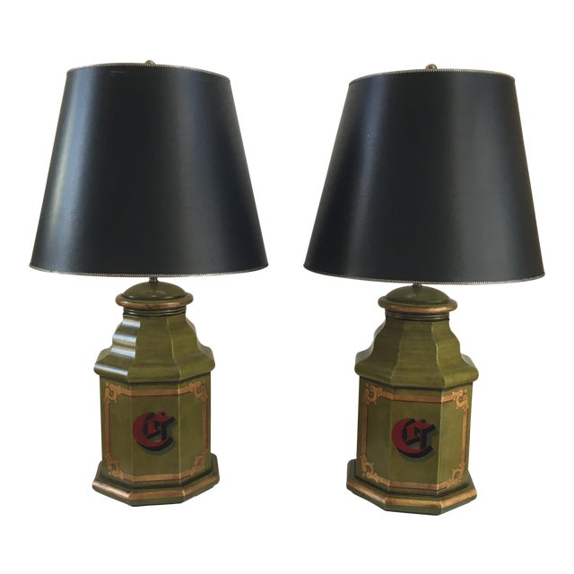 Vintage English Tole Canister Monogram Table Lamps - A Pair For Sale