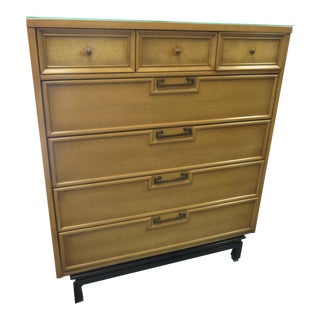 Merton Gershun for American of Martinsville Mid-Century Bleached Walnut Highboy Dresser