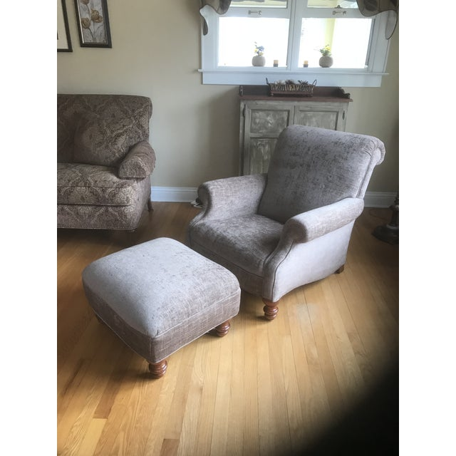 Contemporary Stickley Furniture Upholstered Maple Chair & Ottoman For Sale - Image 3 of 12