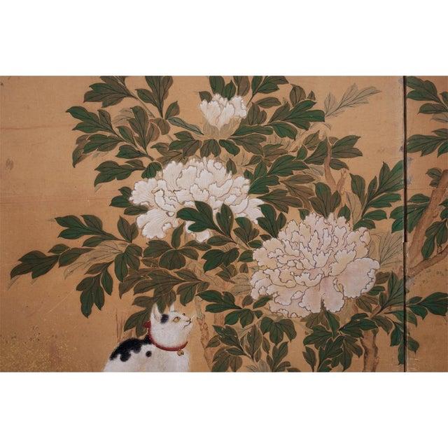 Gold 1880's Vintage Japanese Yamato-E Byobu Screen For Sale - Image 8 of 13
