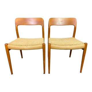 """Vintage Danish Mid Century Modern Teak Dining Chairs """"Model 75"""" by Niels Moller- A Pair For Sale"""