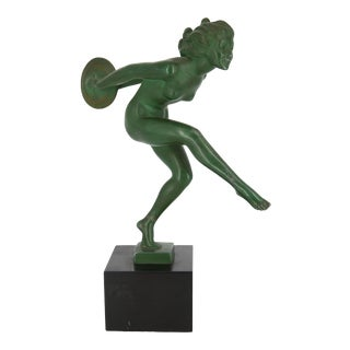 Art Deco Garcia Signed Nude Dancer with Cymbals Sculpture For Sale