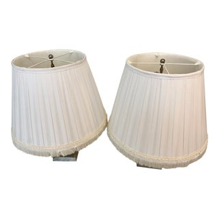 A Pair of Box Pleated Traditional Custom Paul Ferrante Off-White Shades For Sale