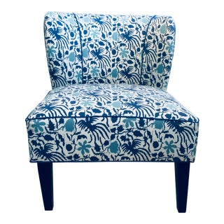 Modern Cerulean Blue Slipper Chair