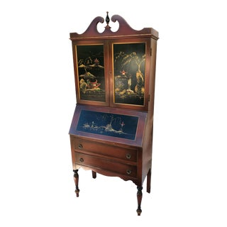 Early 20th Century Rockford Furniture Chinoiserie Bookcase Secretary Desk For Sale
