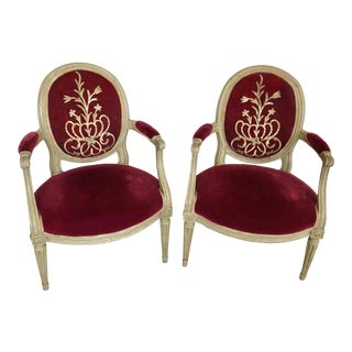 French Louis XVI Painted & Upholstered in Red Velvet Armchairs - a Pair For Sale