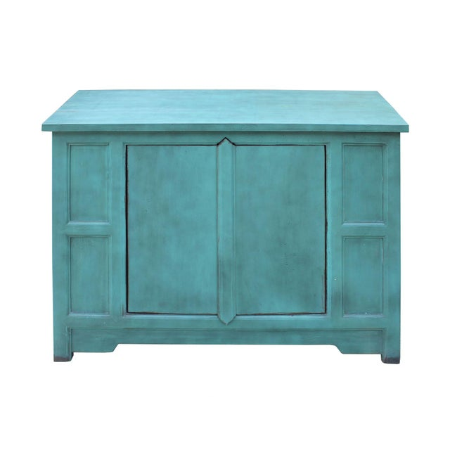 2010s Simple Shabby Chic Rustic Light Blue Low Credenza Cabinet For Sale - Image 5 of 8