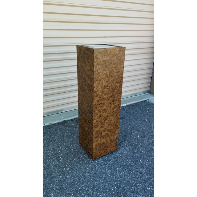 Vintage Milo Baughman Style Illuminated Burl Wood Pedestal For Sale In Tampa - Image 6 of 7