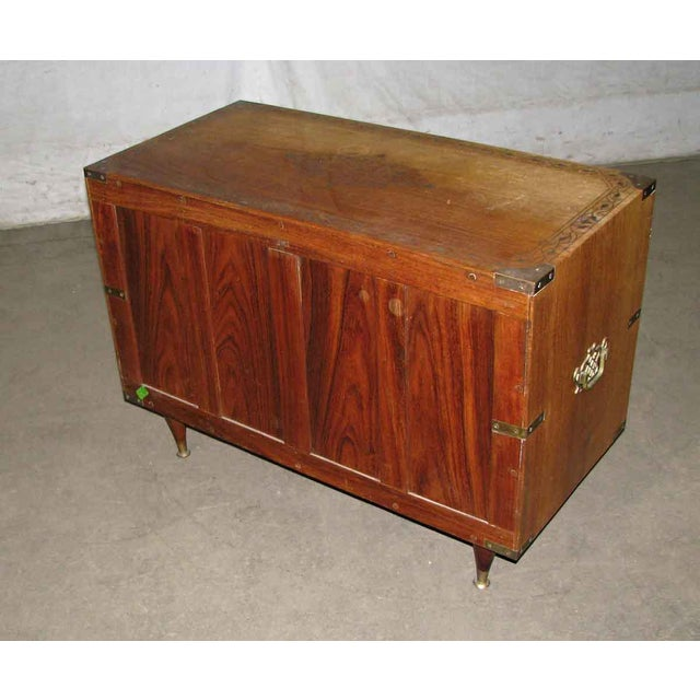 Wood Inlaid Brass Chest of Drawers For Sale - Image 5 of 8