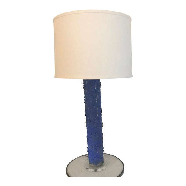 Klein Blue Wallpaper Roller Table Lamp For Sale