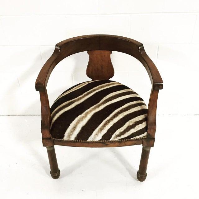 Walnut Zebra Seat Barrel Chair - Image 4 of 5