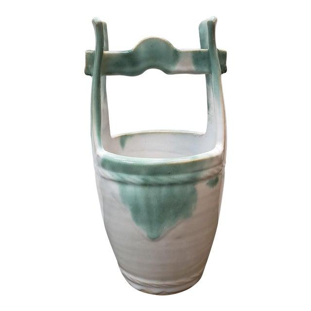 Mid 20th Century Japanese Glazed Stoneware Water Bucket Form Vase For Sale