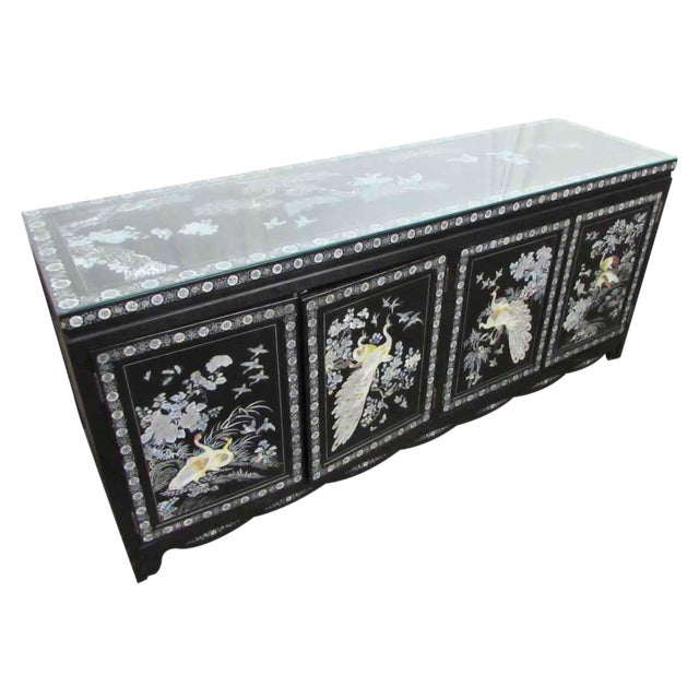 Asian Sideboard With Glass Top For Sale