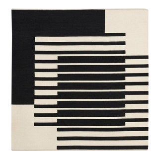 1980s Danish Modern Ruth Malinowski Off White and Black Textile Art