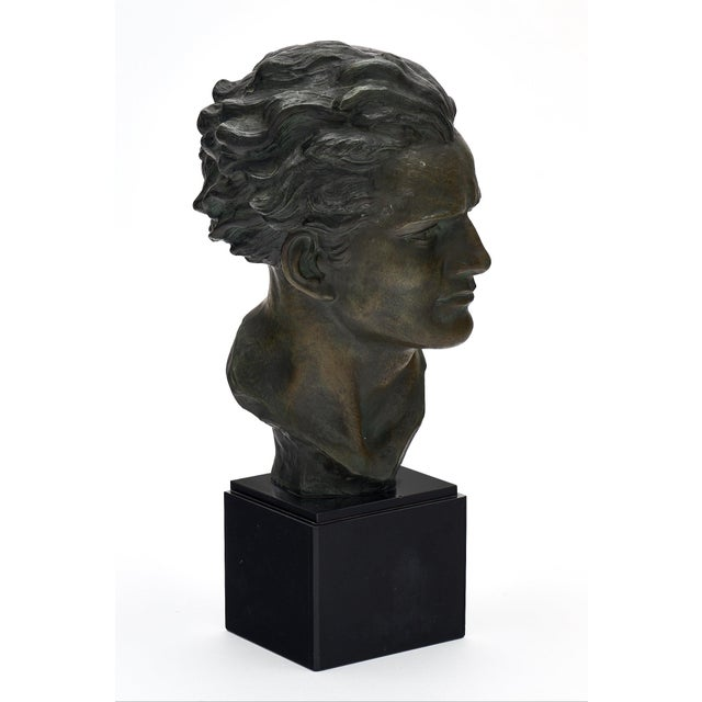 Art Deco Art Deco Spelter Bust of Jean-Mermoz Sculpture For Sale - Image 3 of 10