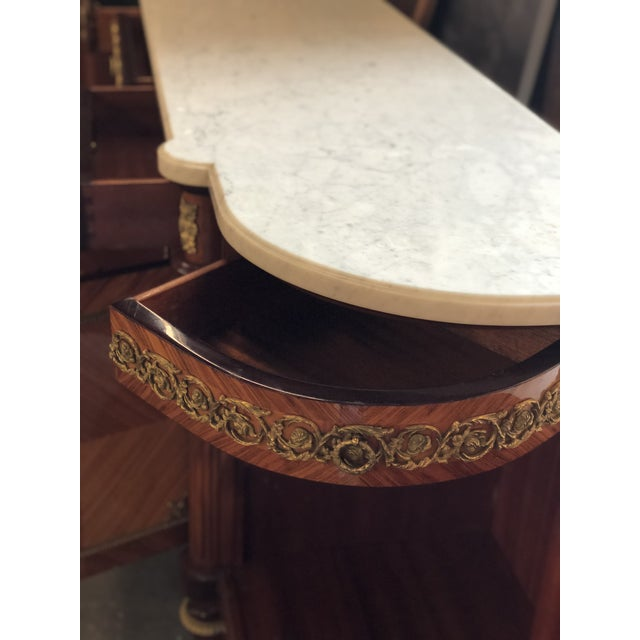 French Louis XVI Mahogany Marble Top Enfilade For Sale In Atlanta - Image 6 of 9