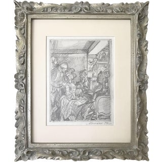 Vintage Graphite Drawing by Russian Artist Anatoly Itkin for Dangerous Liaisons For Sale
