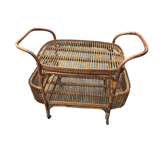 Mid 20th Century Vintage Boho Chic Rattan and Bamboo Bar Cart For Sale - Image 5 of 5