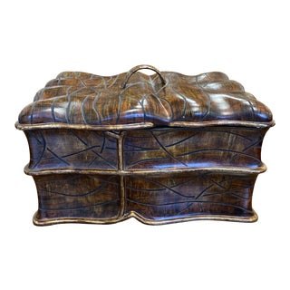 Carved Leaf Wood Decor Box For Sale