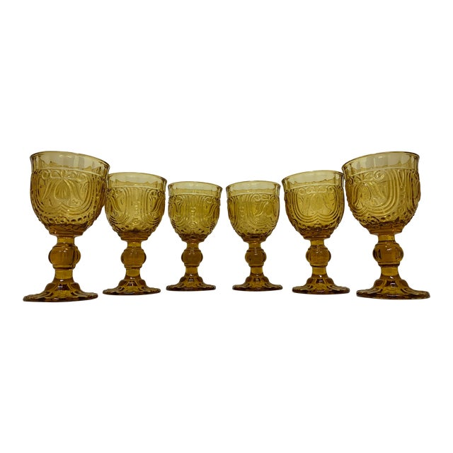 Vintage 1940's Amber Glass Goblets - Set of 6 For Sale