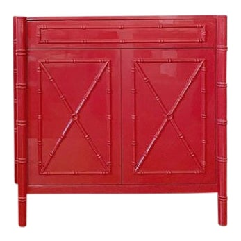 Featured in The 2020 San Francisco Decorator Showcase — C.E.H. Custom Red Lacquered Bamboo Vanity For Sale