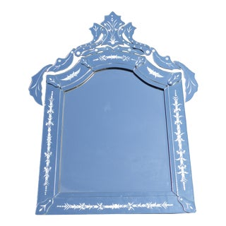 Venetian Style Floral Etched Wall Mantle Mirror For Sale