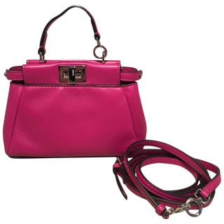 Fendi Micro Mini Fuchsia Pink Peekaboo Bag With Shoulder Strap For Sale