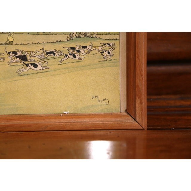 Pair of 19th Century English Painted Hunt Scenes Watercolors in Walnut Frames For Sale - Image 4 of 10