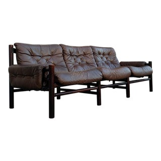 1970s Vintage Arne Norell Leather Safari Sofa For Sale