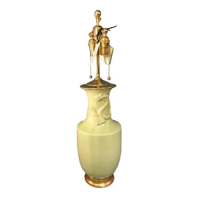 Christopher Spitzmiller Ming Dragon Motif Celadon Lamp - Image 1 of 10