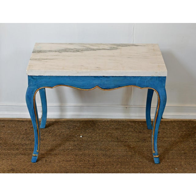 French Italian Marble Top Cocktail Table in the Louis XV Style With Hoof Feet For Sale - Image 3 of 9