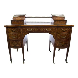 20th Century Edwardian Mahogany Edwards and Roberts Bow-Front Writing Desk For Sale