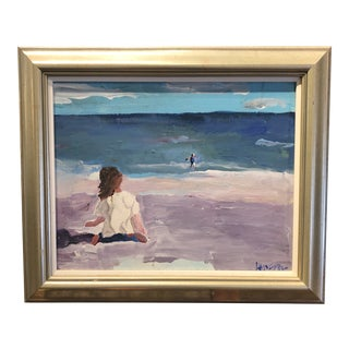 Oil Painting of the Beach by Kellson Pound For Sale