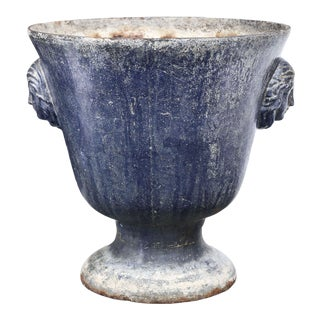 Large Blue Enameled Rouen Urn For Sale