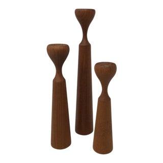 Set of Three Mid-Century Modern Rasmussen Copenhagen Candlesticks For Sale