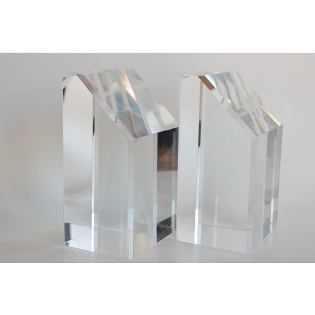 Faceted Lucite Bookends - A Pair - Image 5 of 10