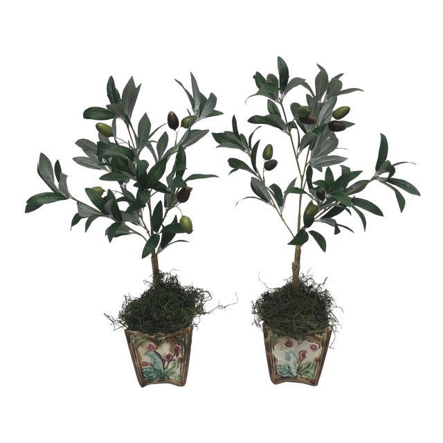 French Majolica Olive Tree Cachepots - a Pair For Sale