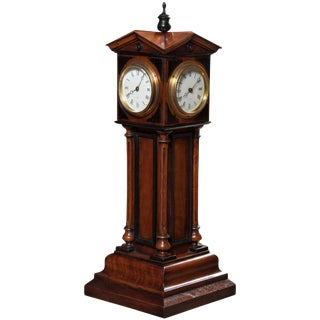 Patent, Blumberg & Co, Ltd., Paris & London Walnut 4 Dial Tower Table Clock For Sale