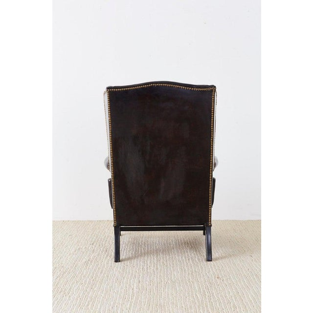 English Georgian Style Black Leather Wingback Armchair For Sale - Image 10 of 13