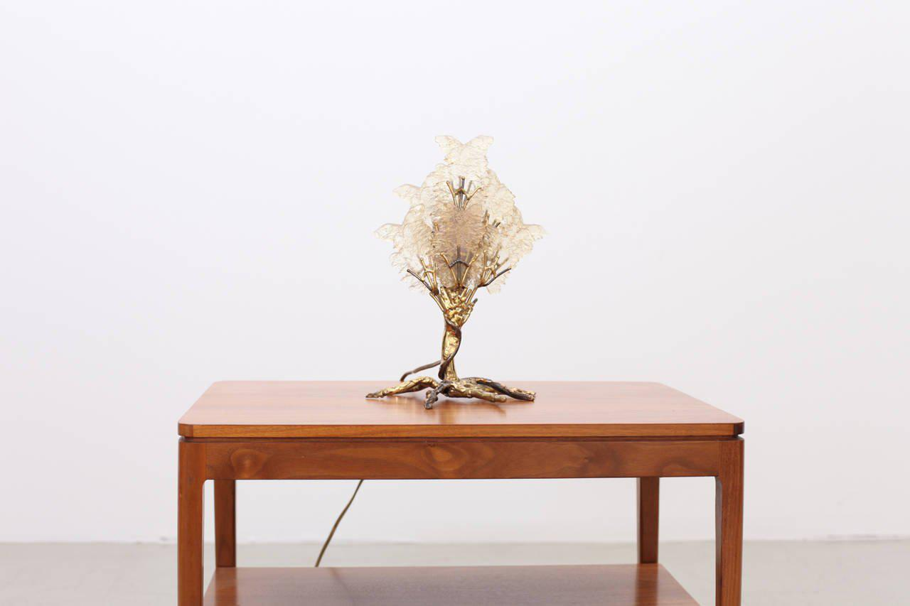 Brass Beautiful Unique Brass Tree Table Lamp By Henri Fernandez For Sale    Image 7 Of
