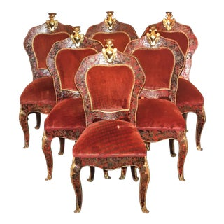 Wood & Turtle Shell Boulle Marquetry Chairs - Set of 6 For Sale