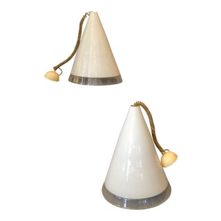Pair of Italian Hand-Blown Murano Glass Pendant Lamps by Renato Toso for Leucos For Sale