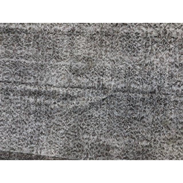 1960s Vintage Turkish Distressed Gray Carpet - 5′4″ × 9′6″ For Sale - Image 6 of 11