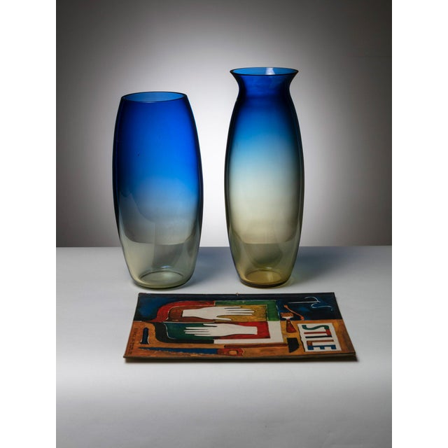 Modern Pair of Murano Glass Vases by Barbini For Sale - Image 3 of 4