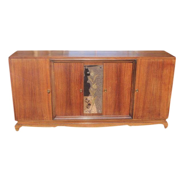 1940s French Art Deco Exotic Rosewood Cut Glass Panel Credenza For Sale