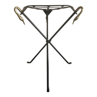 Mid 20th Century Hand Wrought Iron Plant Stand For Sale